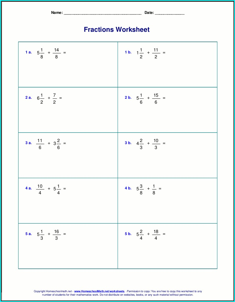 Adding Positive And Negative Mixed Numbers Worksheet
