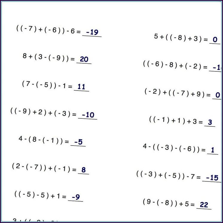 Adding Subtracting Integers Number Line Worksheet