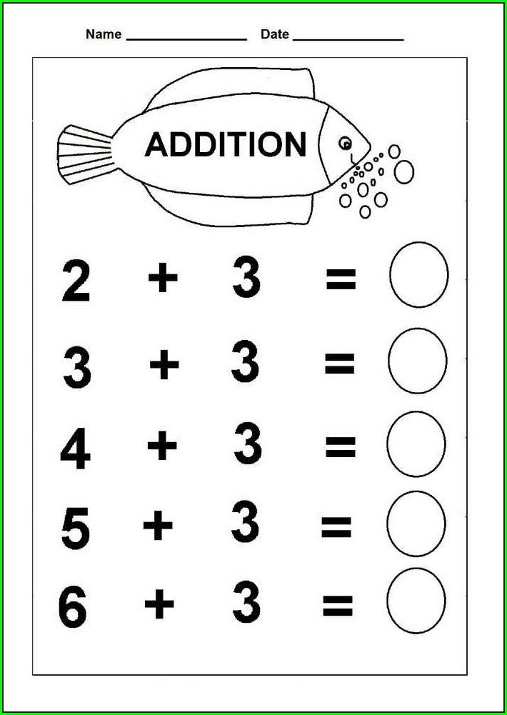 Addition Printable Kindergarten Math Worksheets