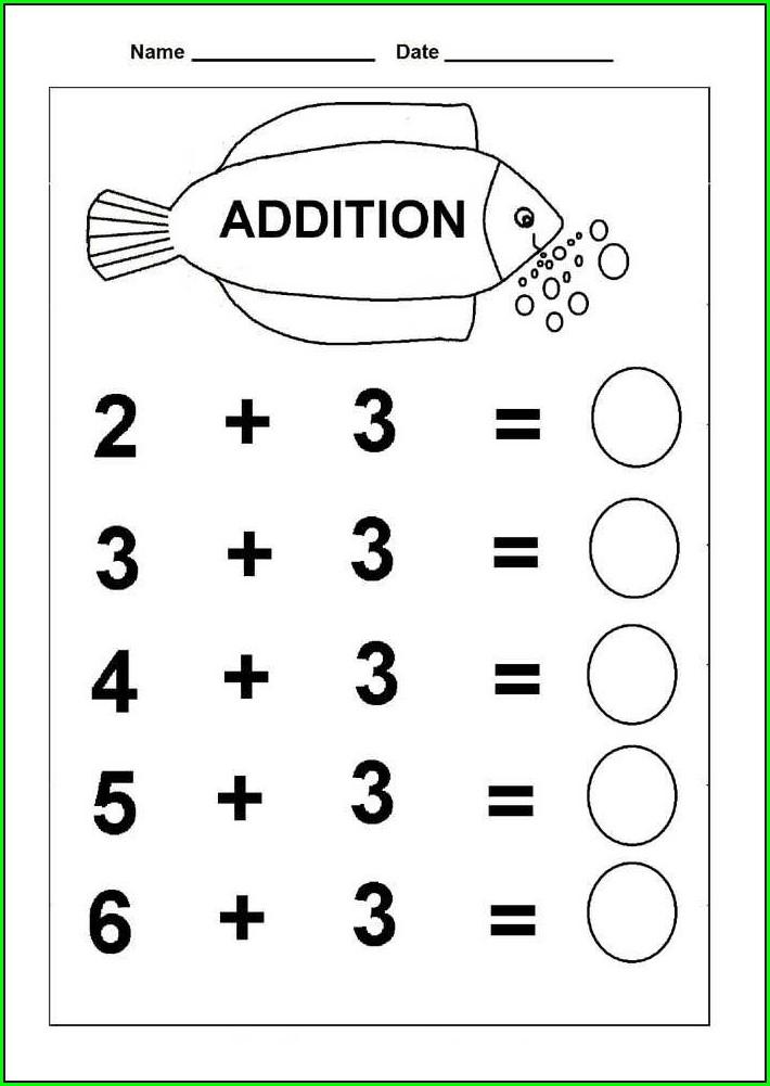 Addition Printable Kindergarten Math Worksheets