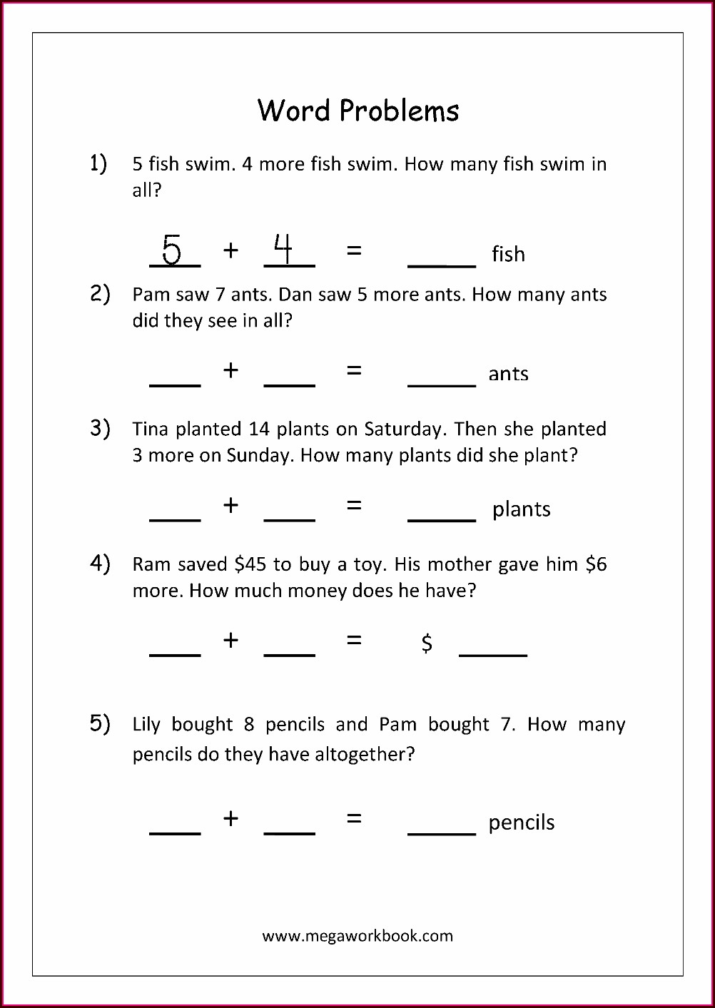 Addition Word Problem Worksheet Grade 1