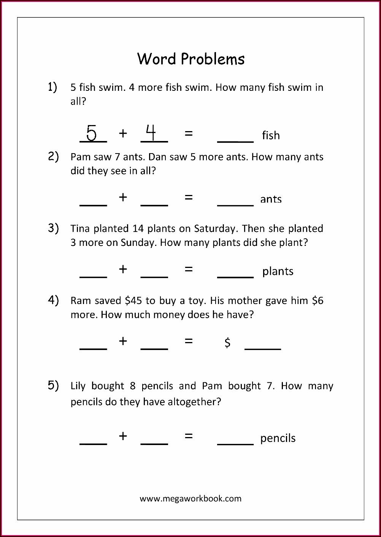 Addition Word Problem Worksheet Grade 1