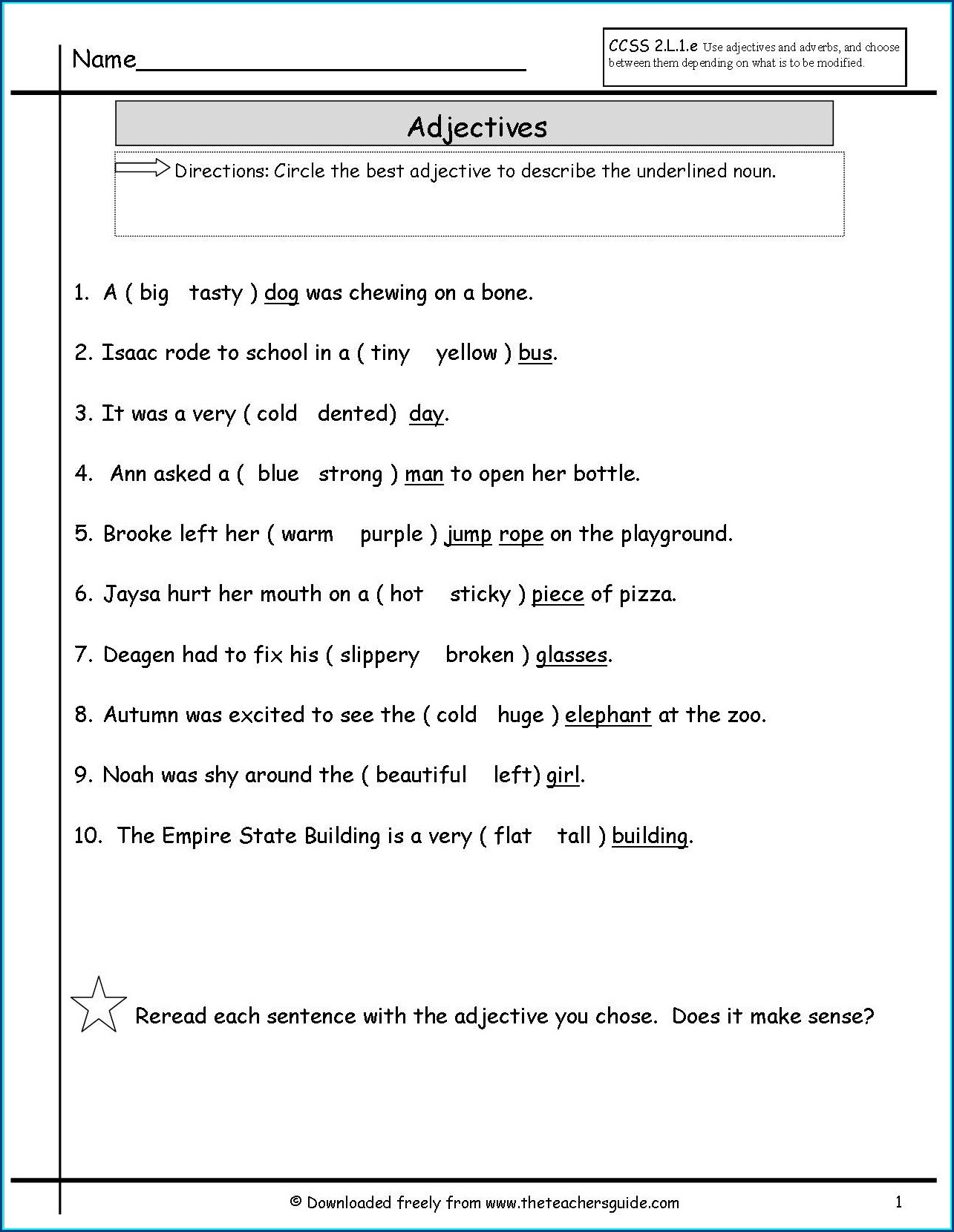 Adjectives Worksheet Grade 2 Pdf