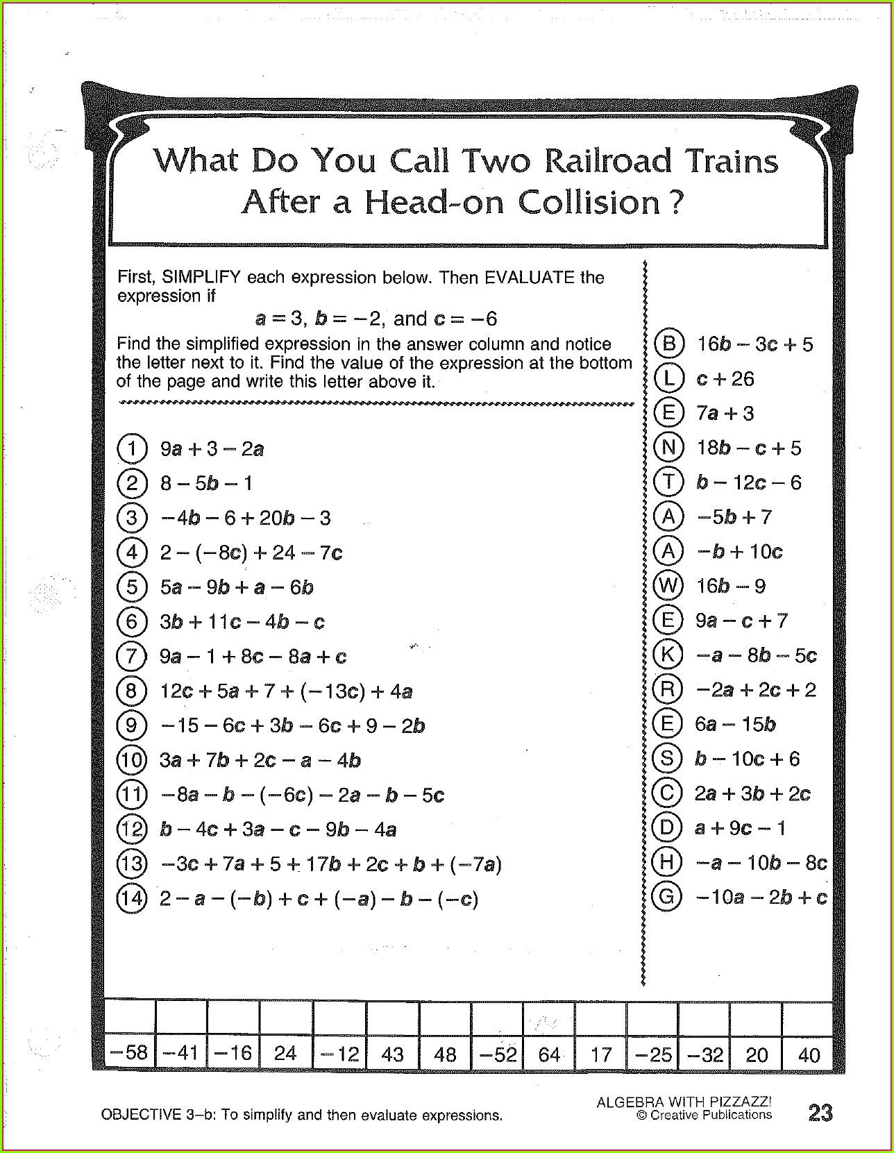 Algebra Worksheet 25 Answer Key