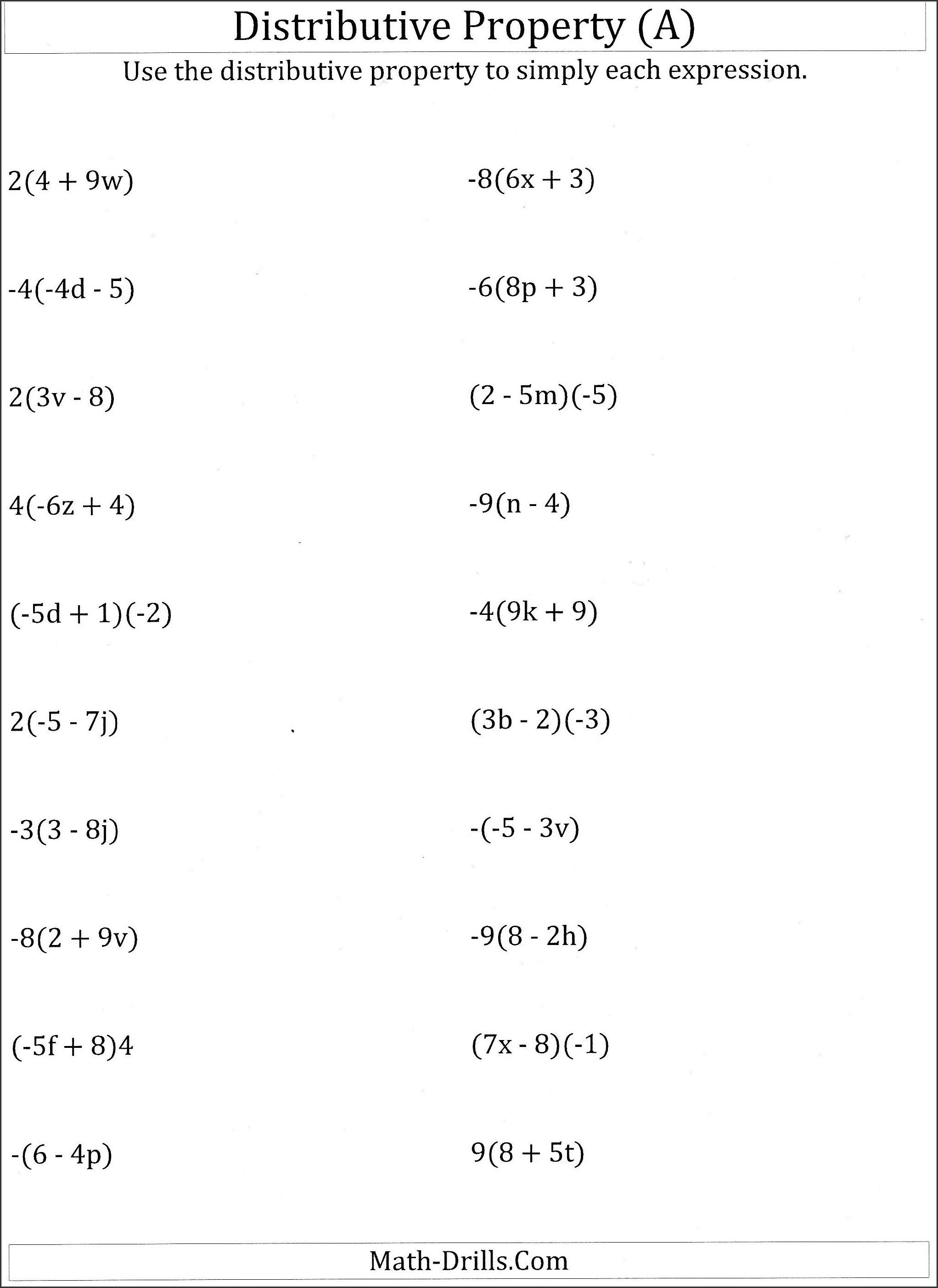 Algebra Worksheet For Class 6th