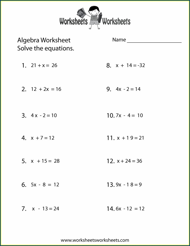 Algebra Worksheet With Answers