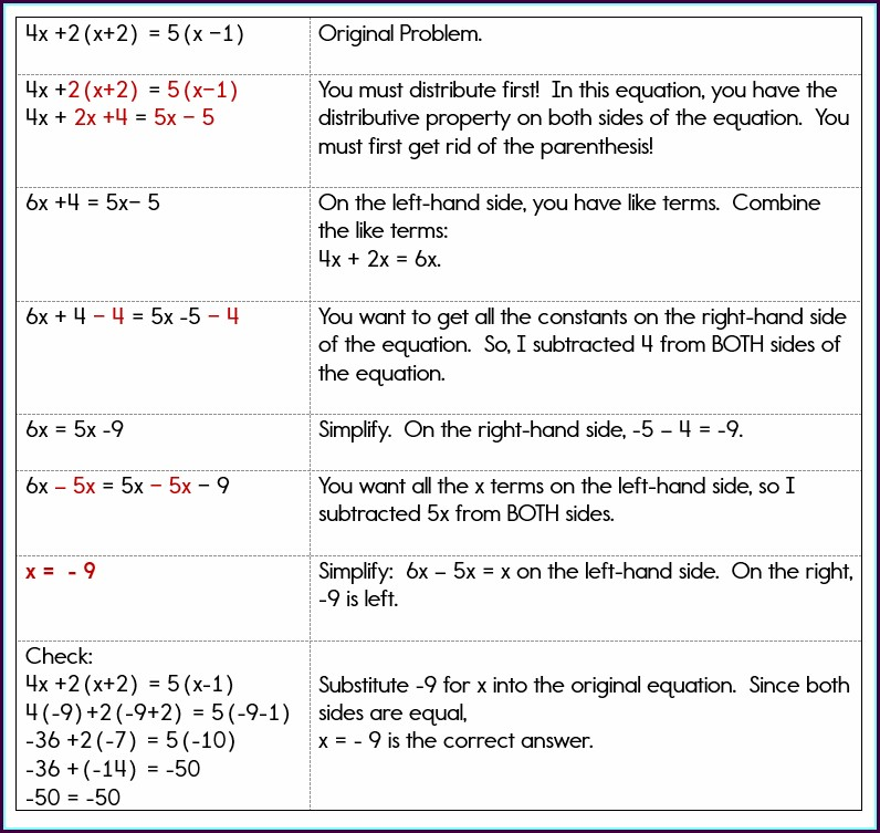 Algebra Worksheet With Variables