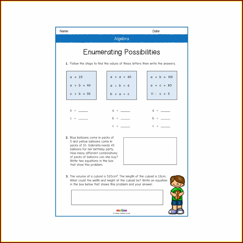 Algebra Year 6 Maths Worksheets