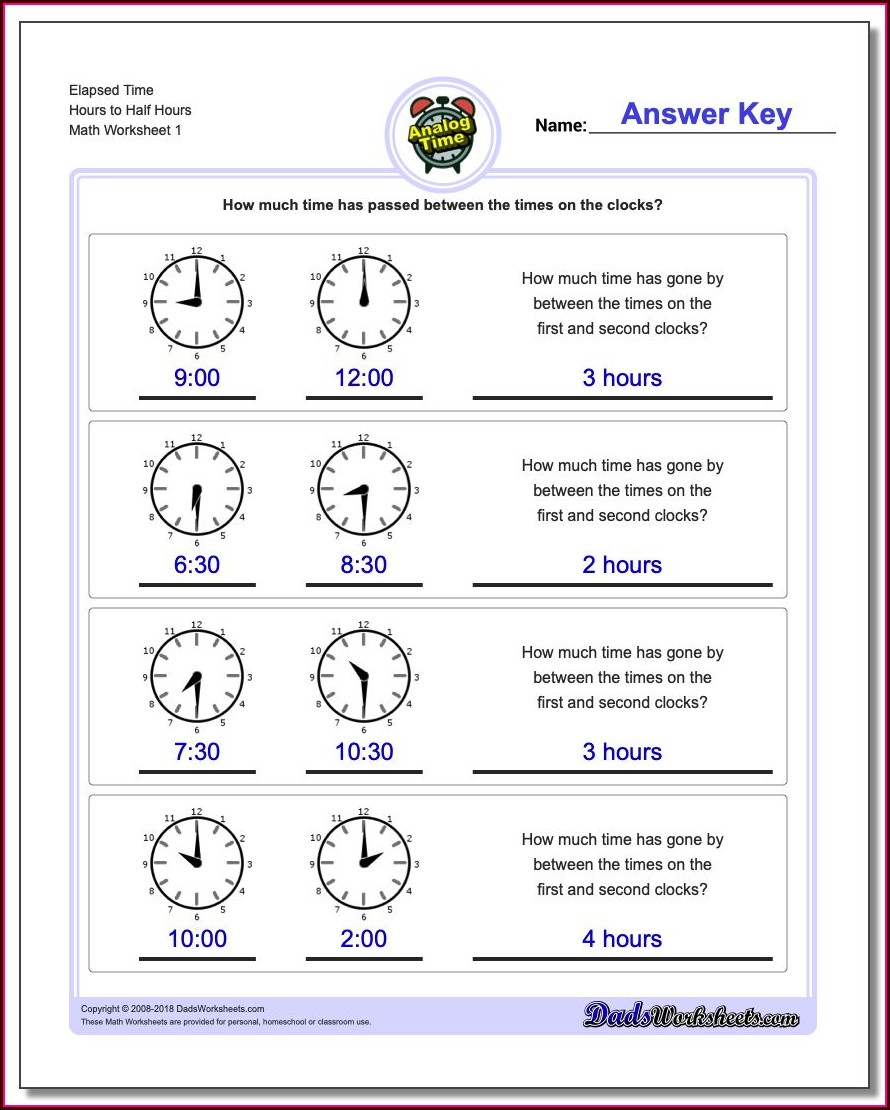 Analog Clock Elapsed Time Worksheets