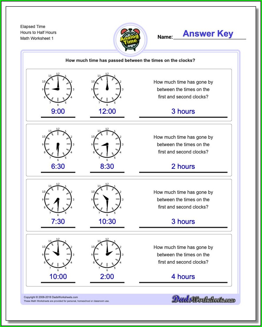 Analog Time Printable Worksheets