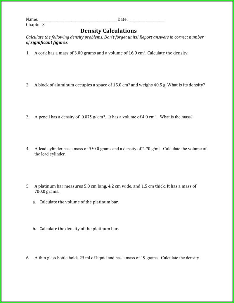 Answer Key Density Calculations Worksheet 1