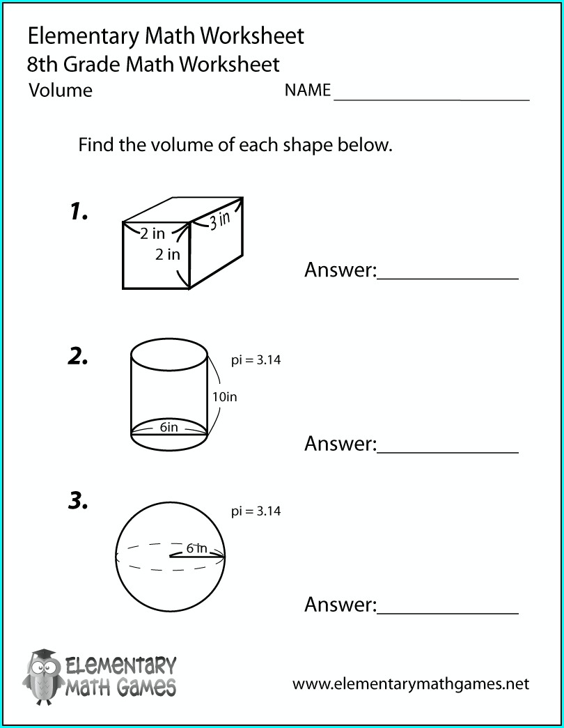 Answer Key Free Printable 8th Grade Math Worksheets