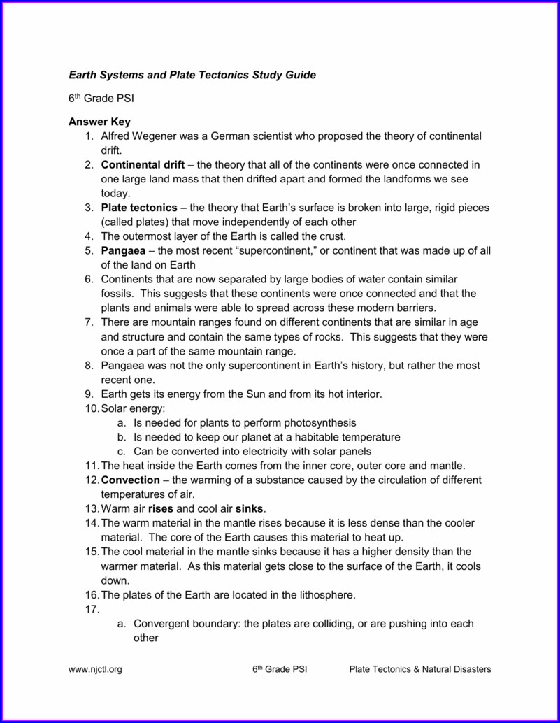 Answer Key Plate Tectonics Worksheet 6th Grade