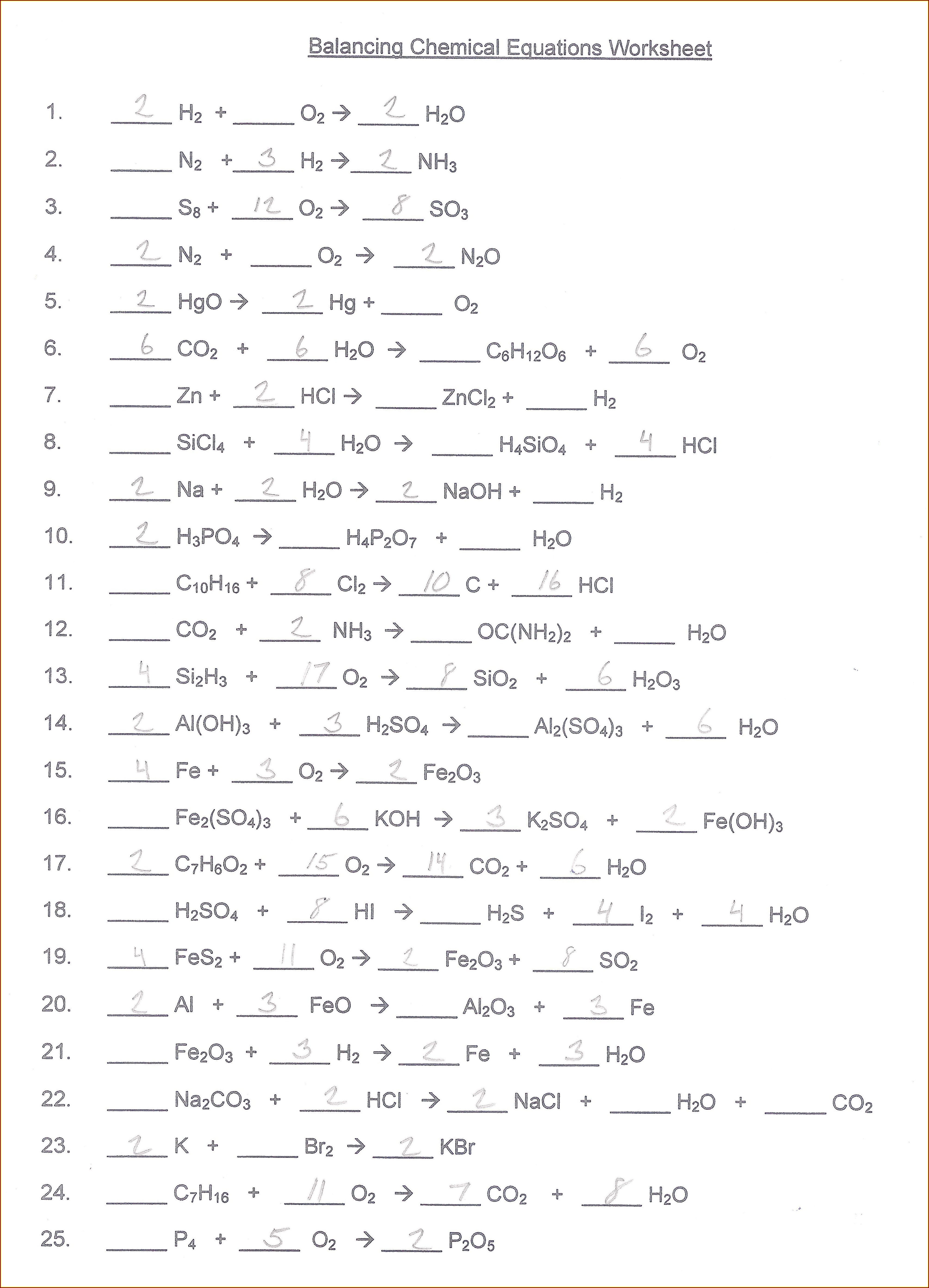 Answer Key Writing And Balancing Chemical Equations Worksheet Answers Pdf
