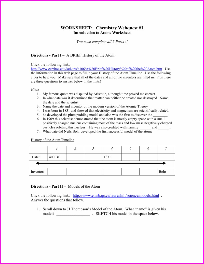 Atomic Theory Timeline Worksheet