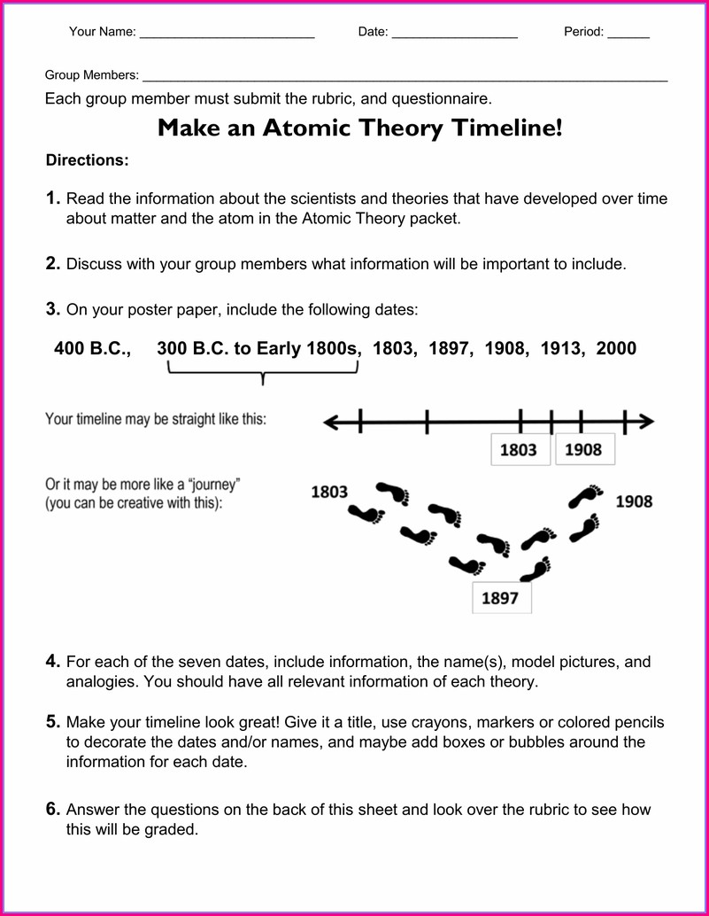 Atomic Timeline Worksheet Answer Key