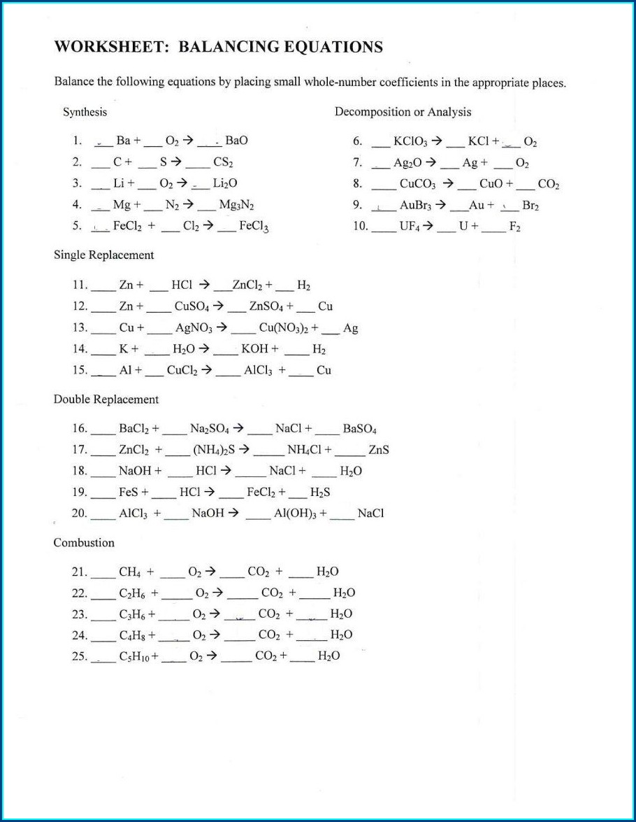 Balancing Chemical Equations Worksheet Grade 8 With Answers