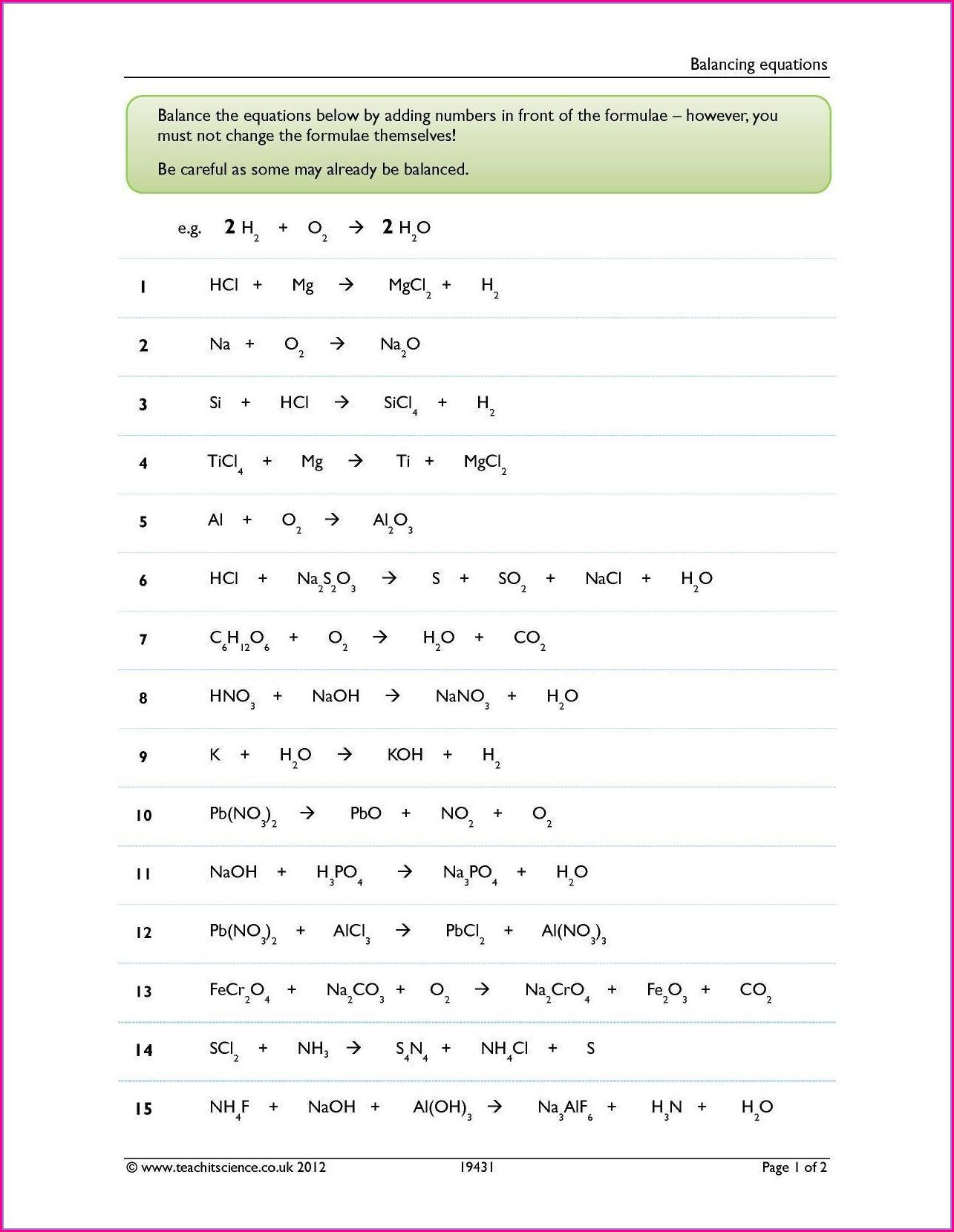 Balancing Chemical Equations Worksheet Microsoft Word