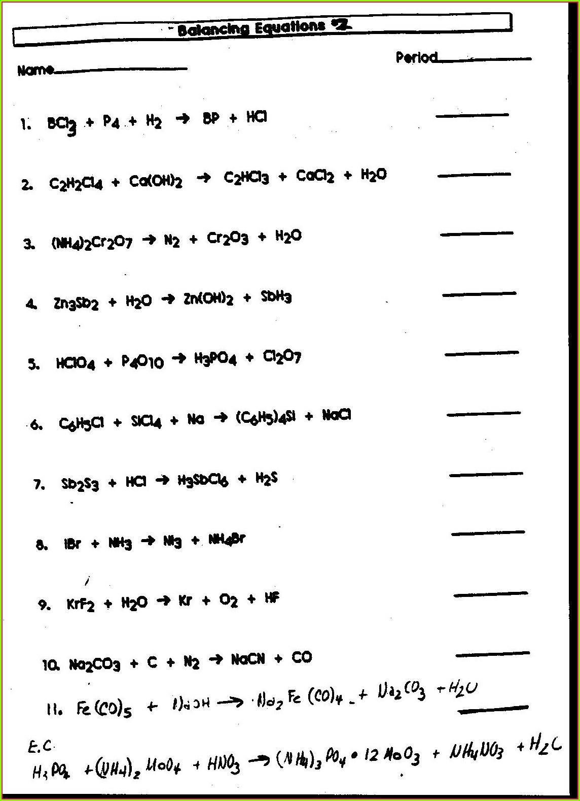 Balancing Equations Worksheet Physical Science If8767 Answers
