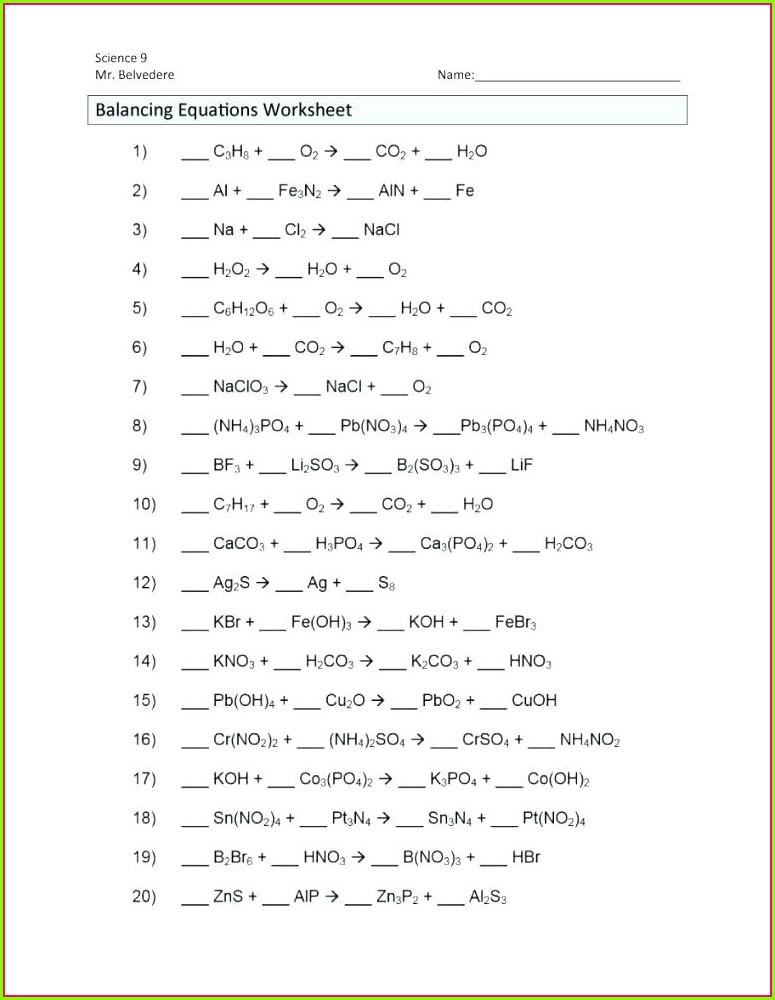 Balancing Equations Worksheet Science 9