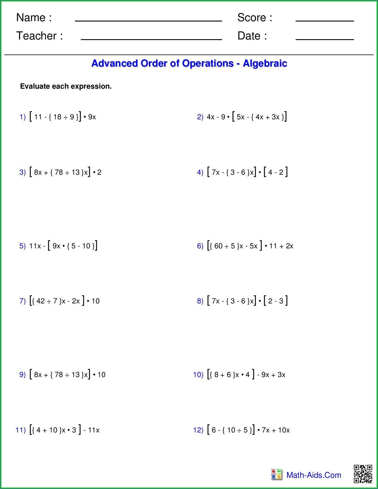 Basic Order Of Operations Worksheet Pdf