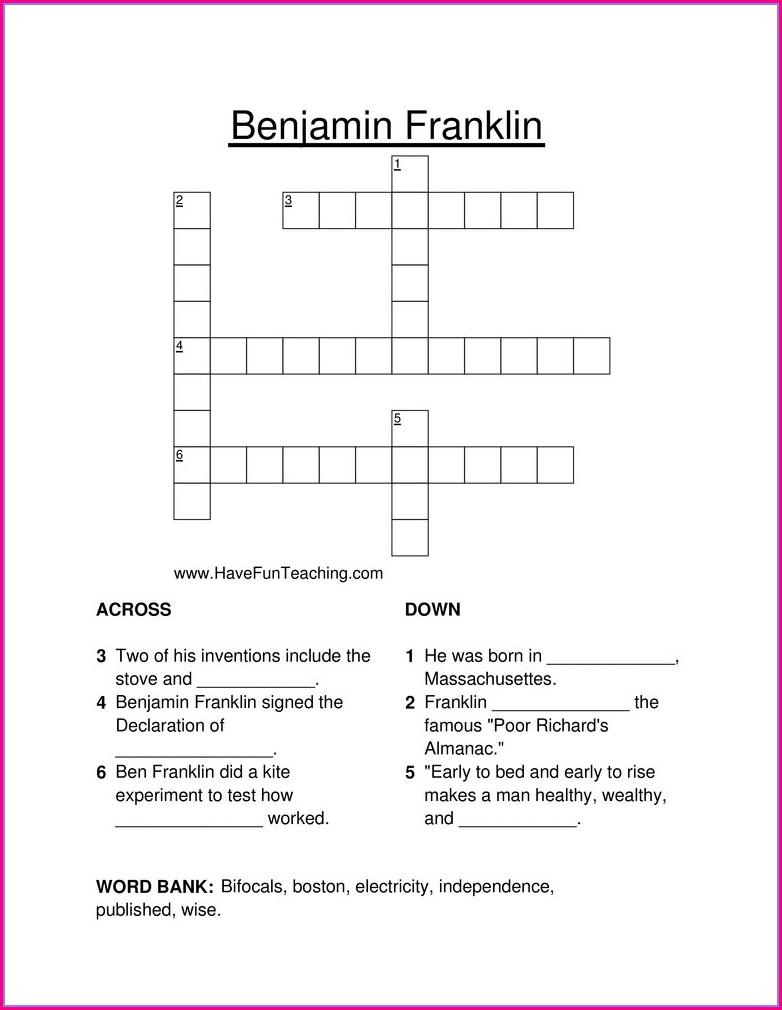 Benjamin Franklin Worksheet Second Grade