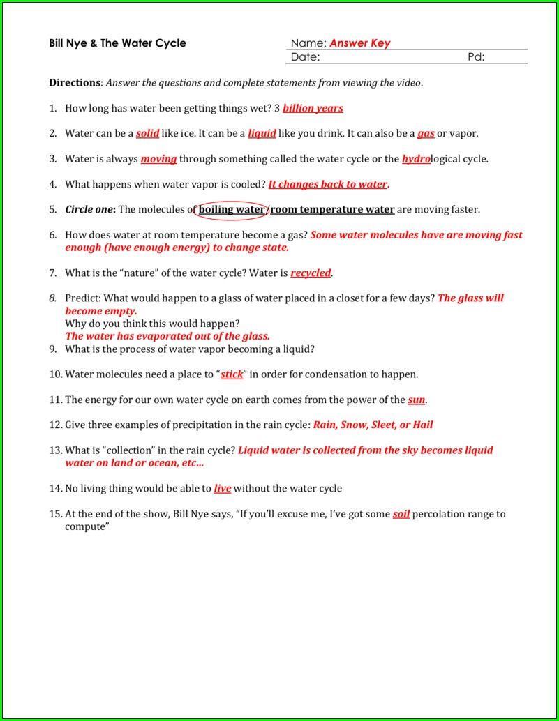 Bill Nye Water Cycle Worksheet Free