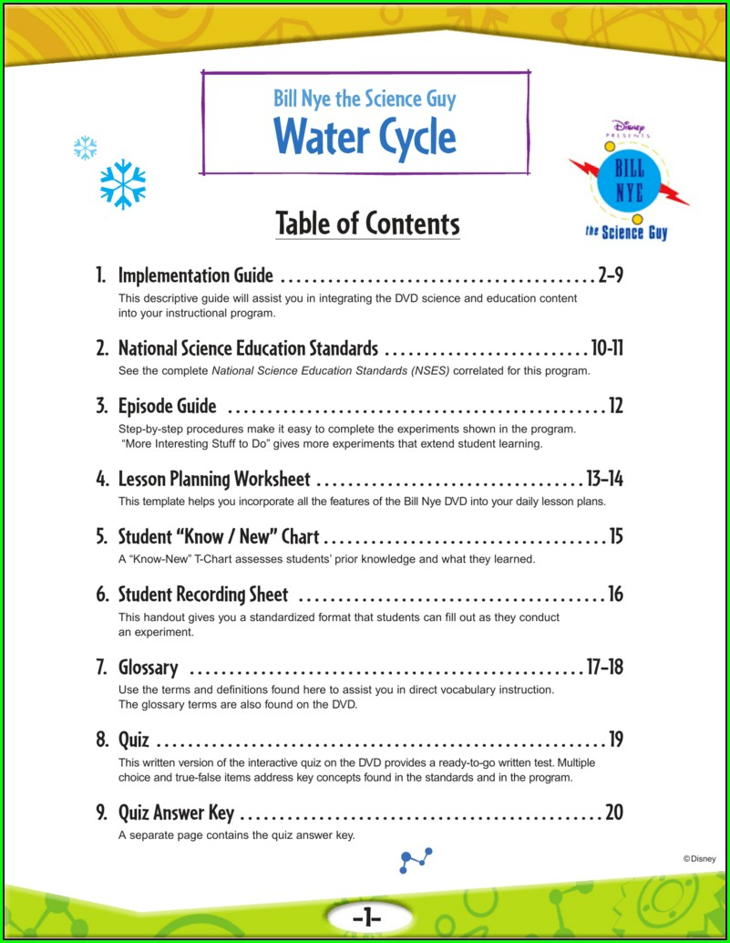 Bill Nye Water Cycle Worksheet