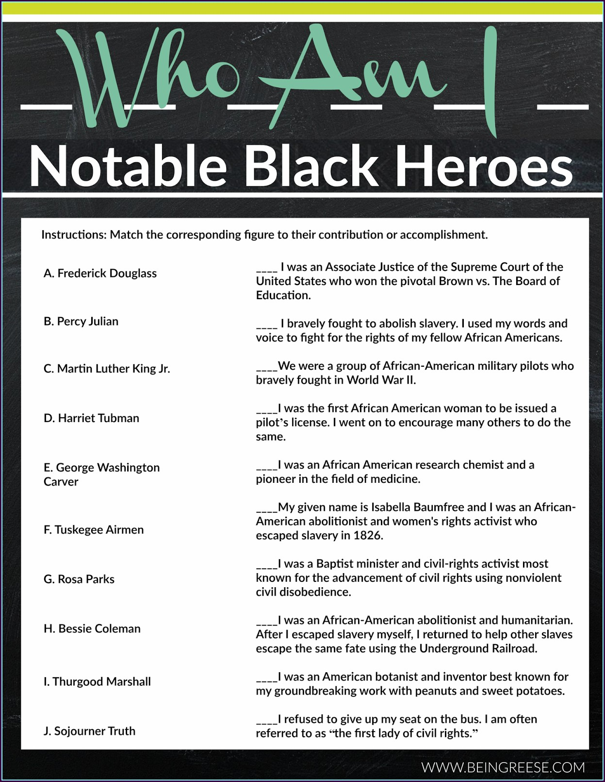 Black History Month Worksheets For Students