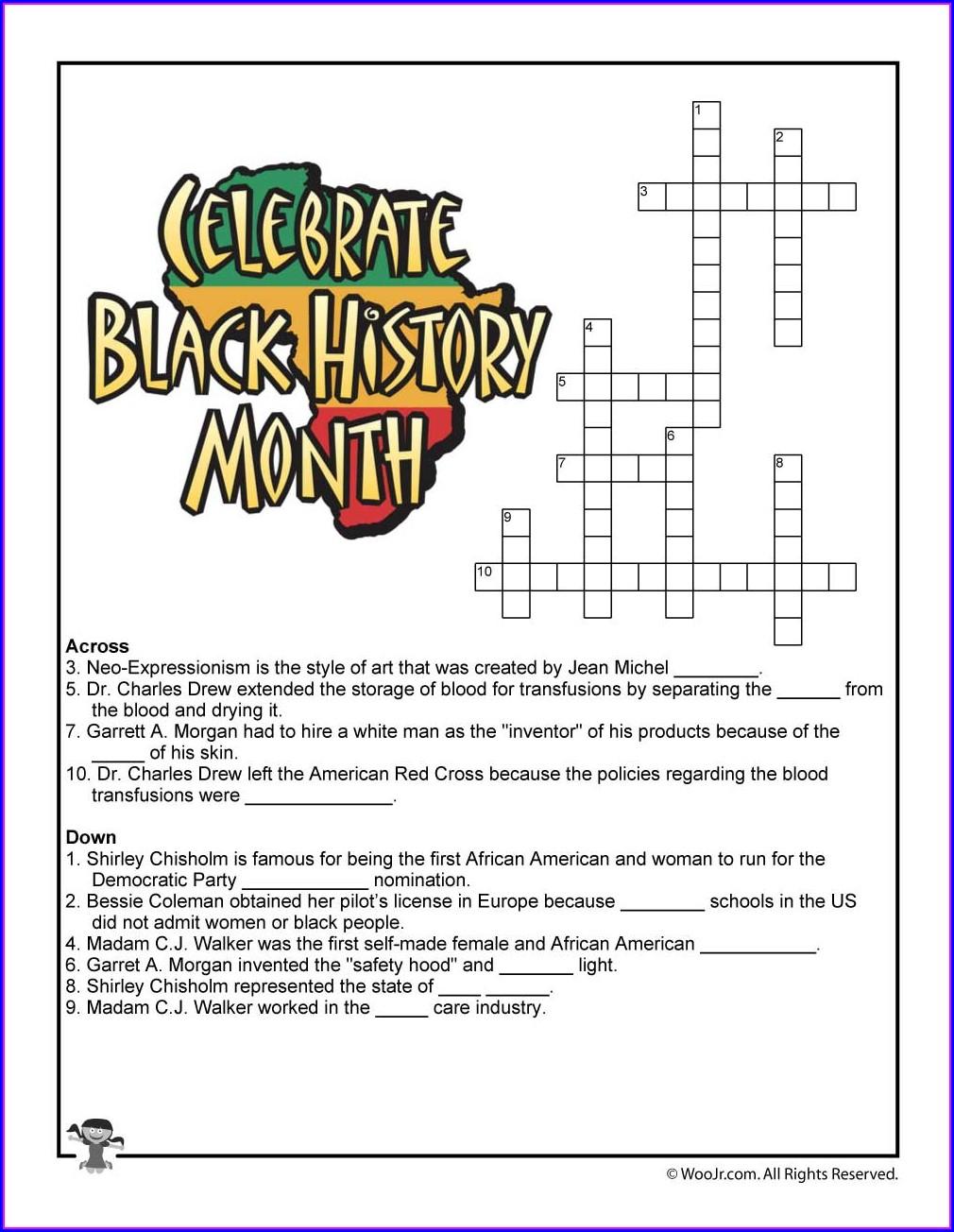 Black History Month Worksheets