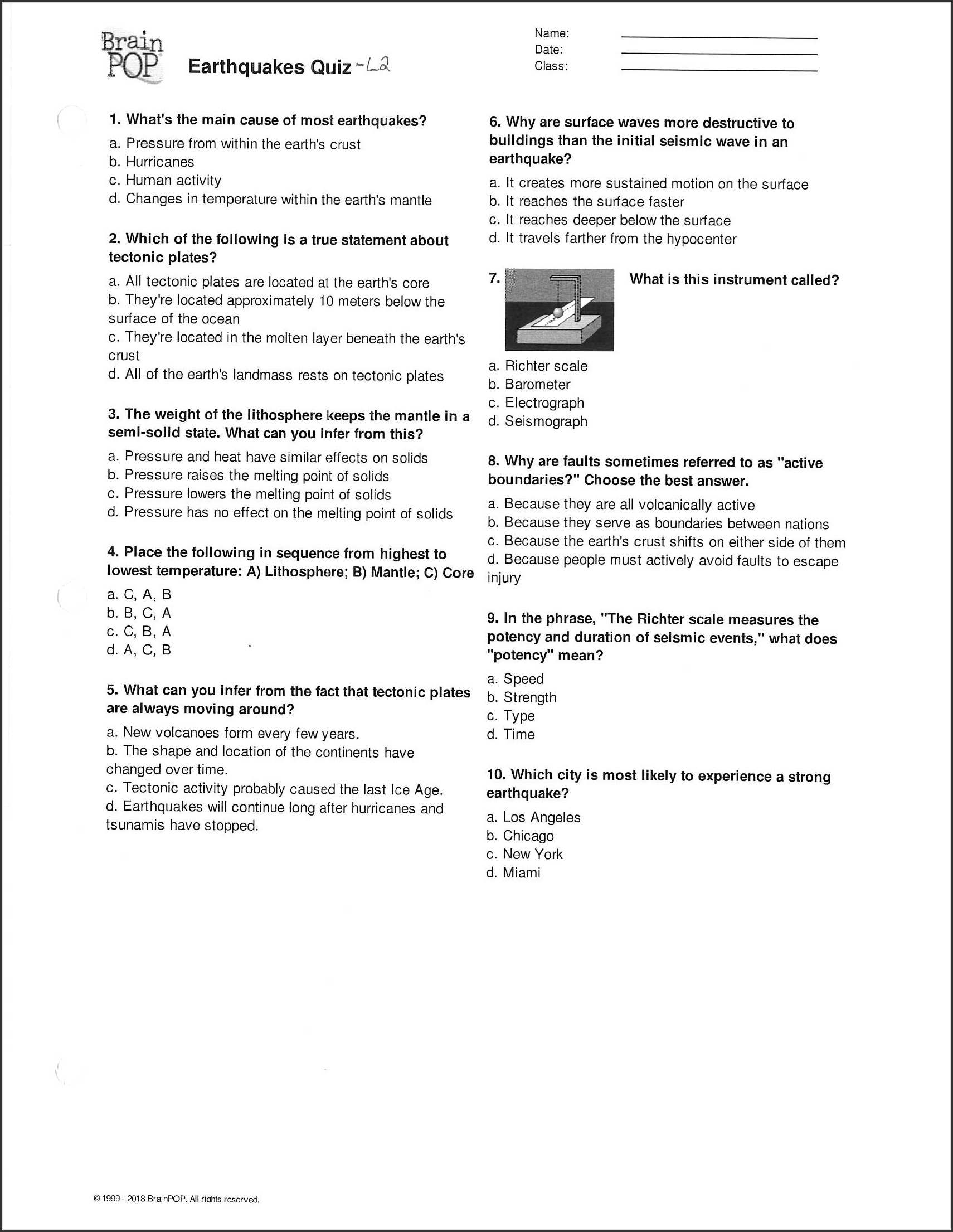Brainpop Plate Tectonics Worksheet Answer Key