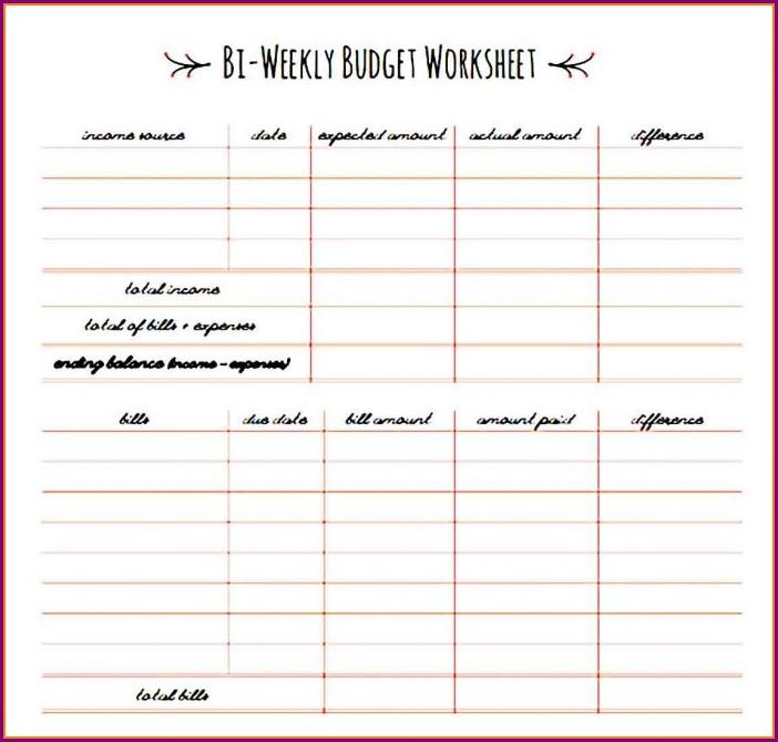 Budget Worksheet Biweekly Pay