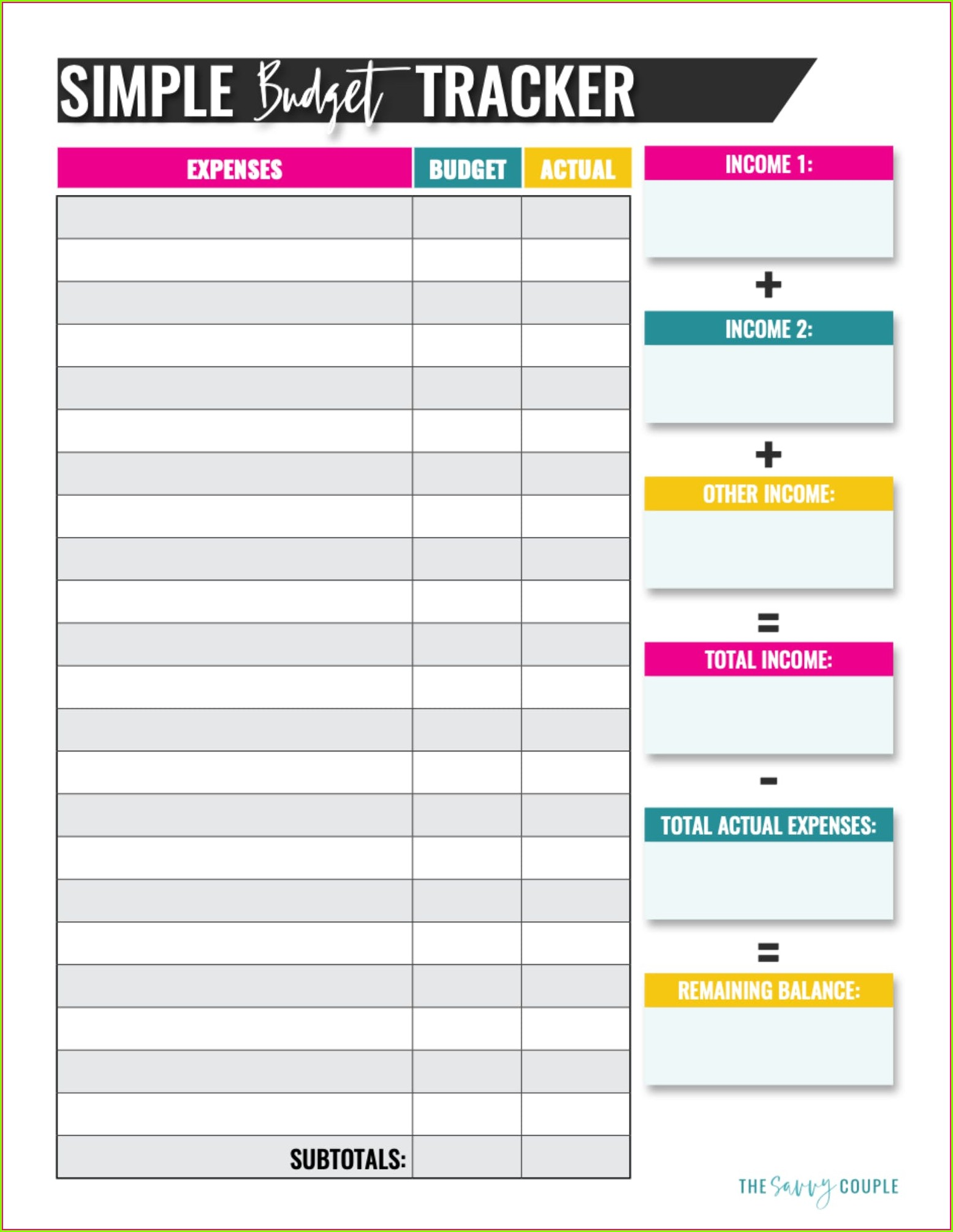 Budget Worksheet For Newly Married Couples