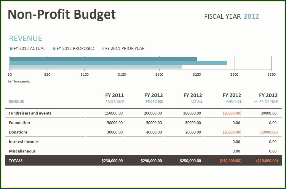 Budget Worksheet For Non Profit Organization
