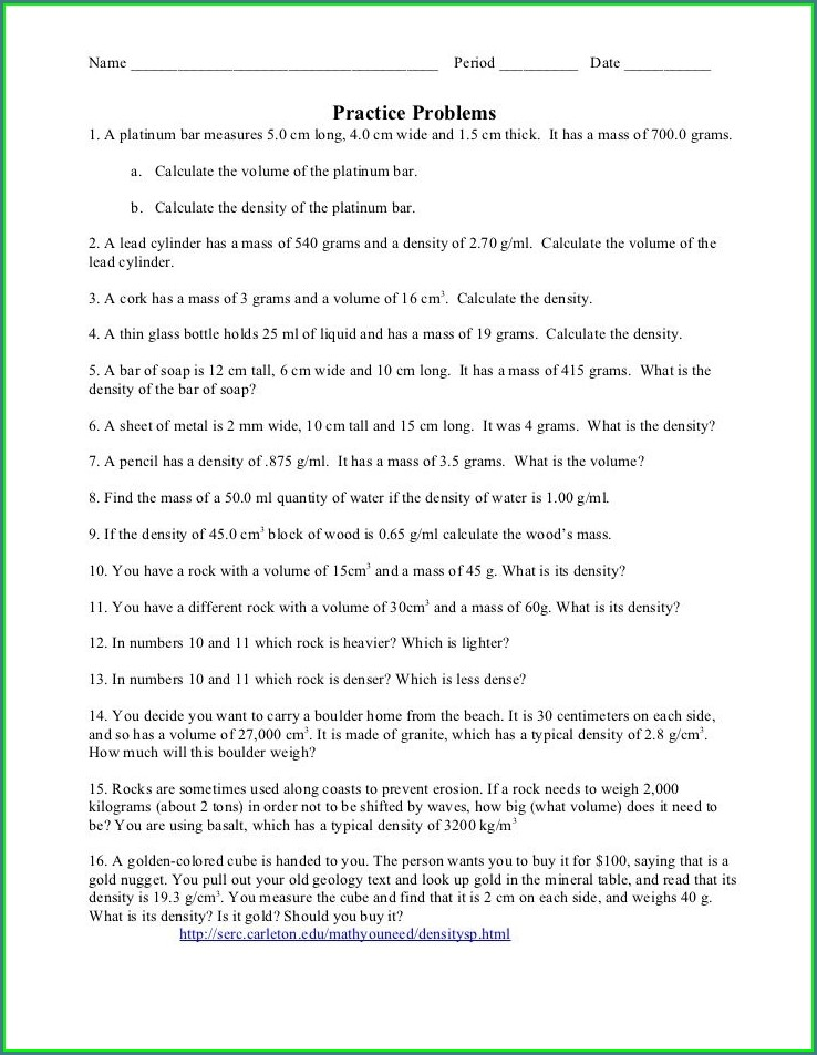 Calculating Density Worksheet Elementary