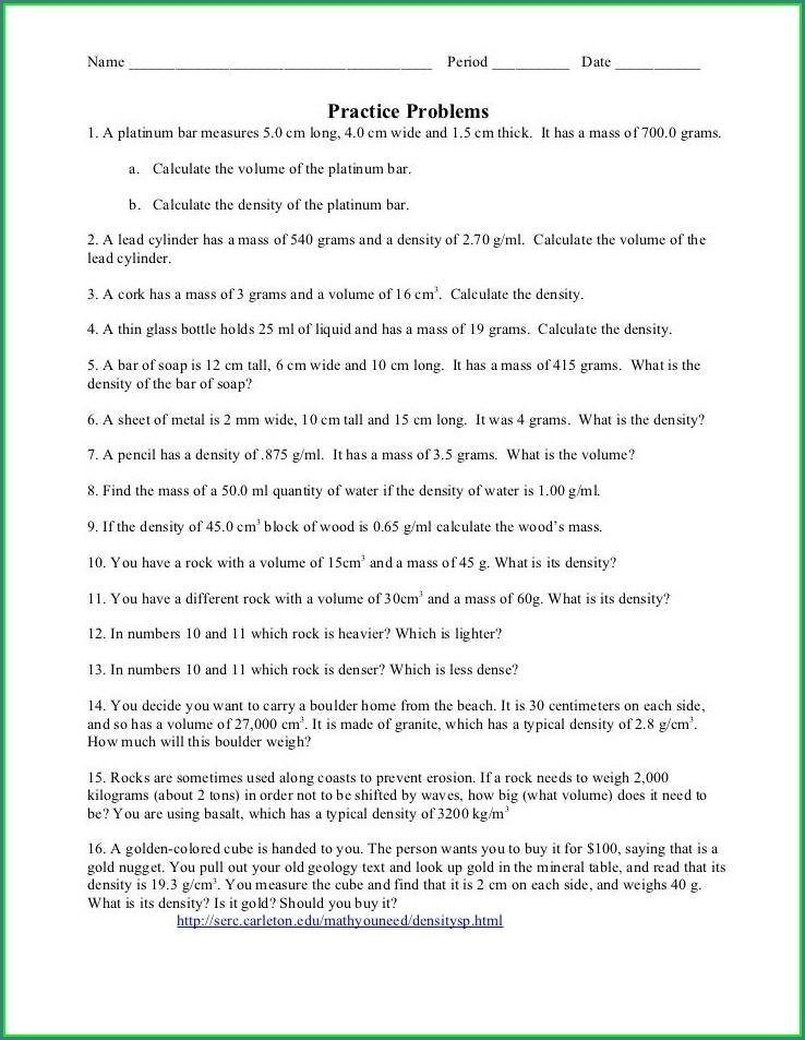 Calculating Density Worksheet Elementary