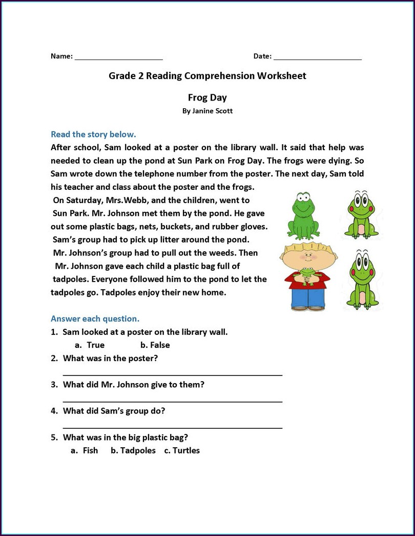 Calendar Reading Worksheet Grade 2