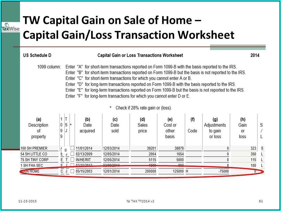 Capital Gains Loss Worksheet