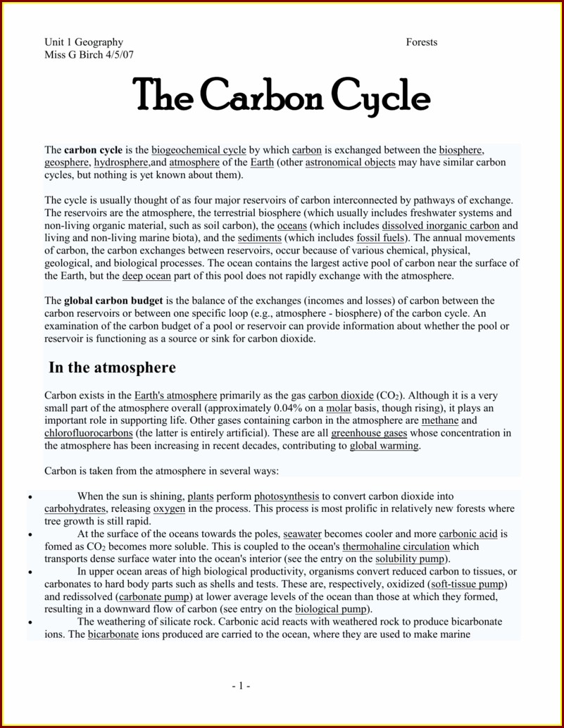 Carbon Budget Worksheet Answers