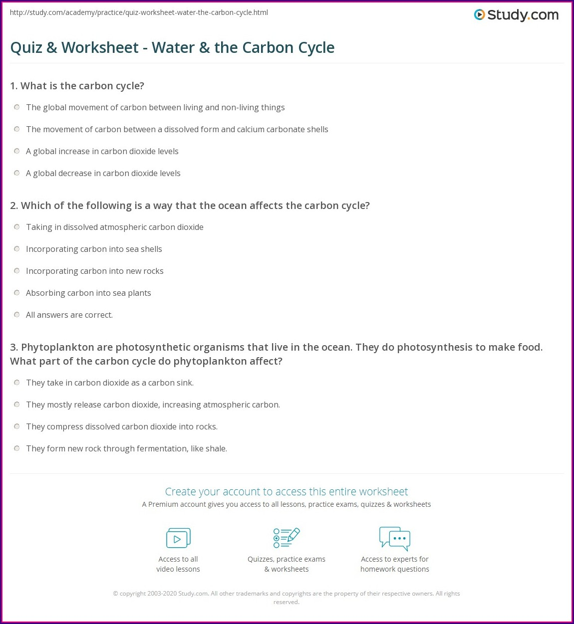 Carbon Cycle Review Worksheet