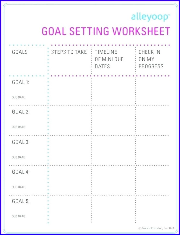 Career Goal Setting Worksheet For Students