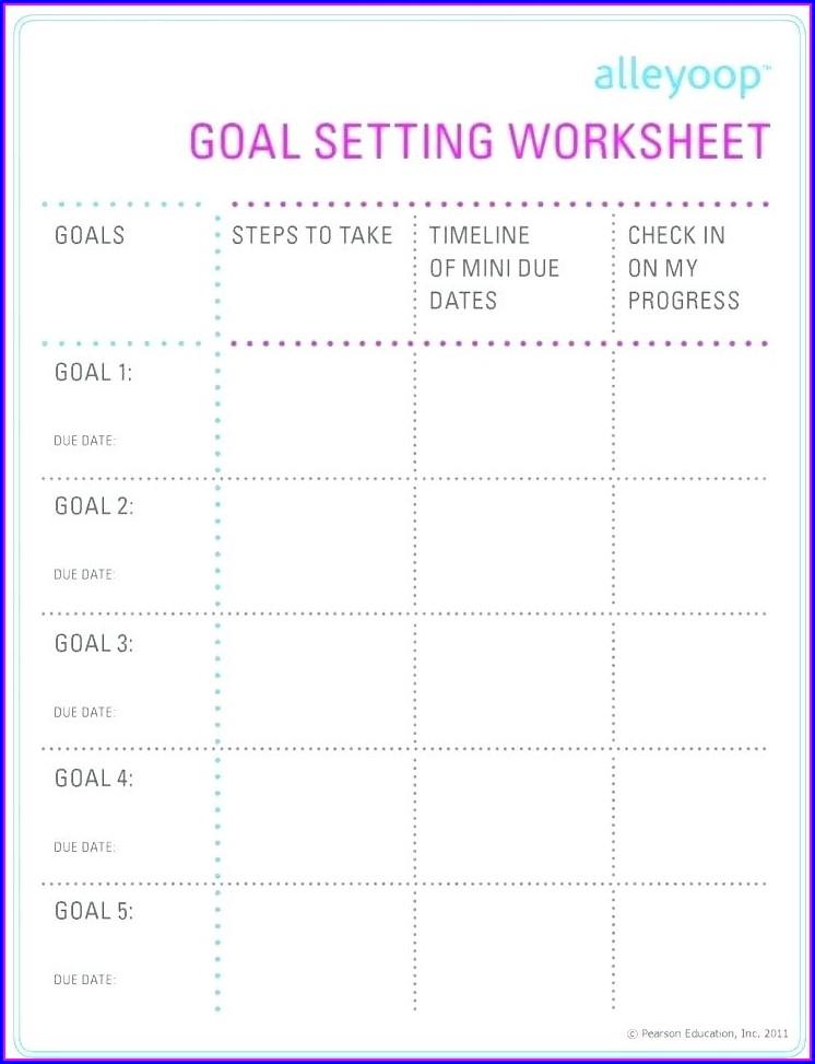 Career Goal Setting Worksheet For Students