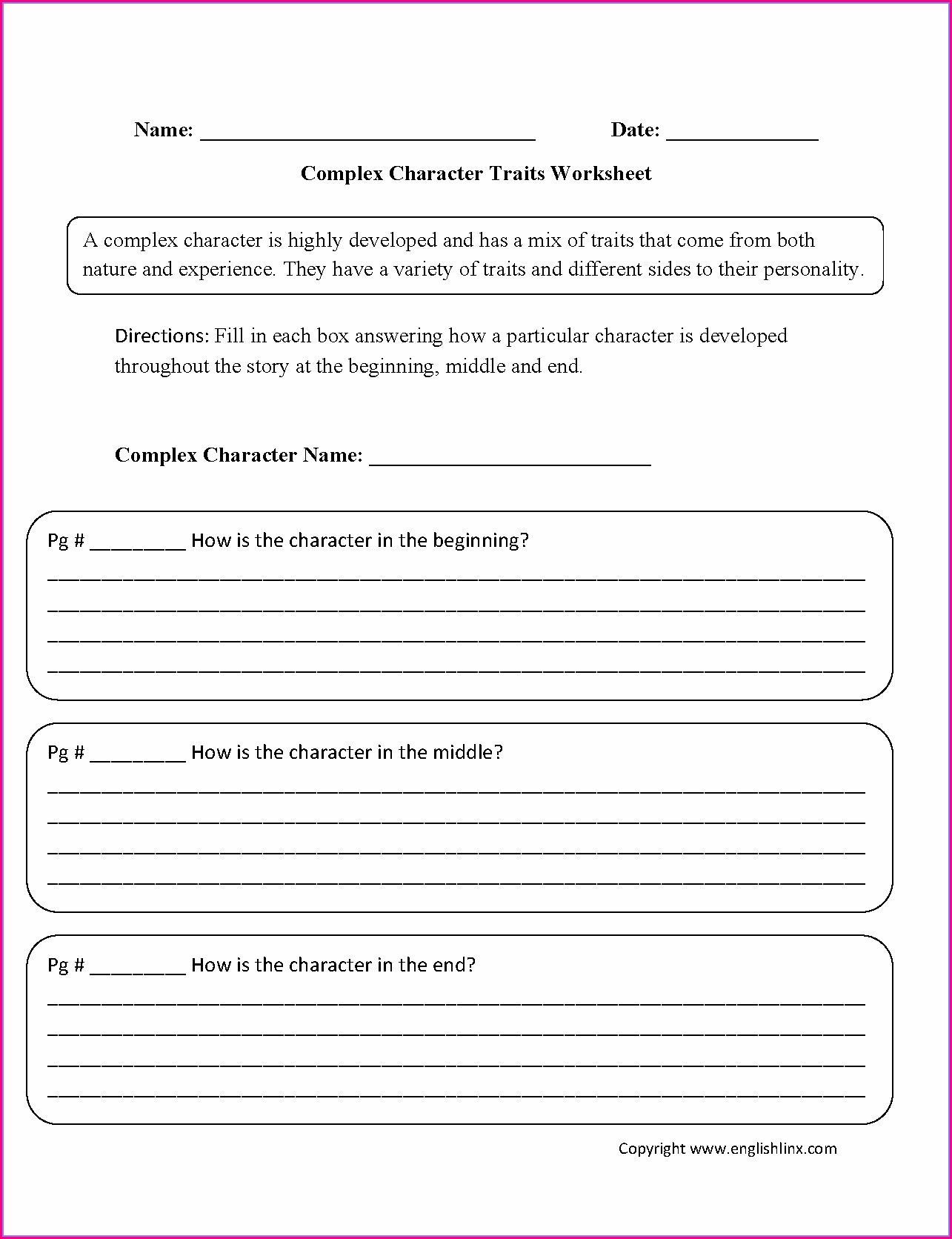 Character Traits Worksheet For 4th Grade