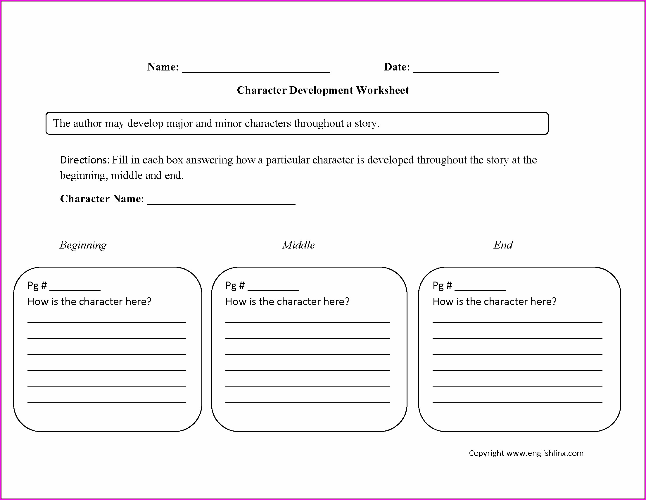 Character Traits Worksheet For High School
