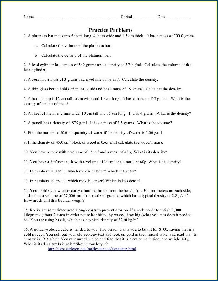Chemistry Density Review Worksheet