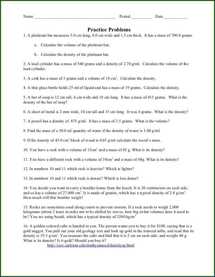 Chemistry Density Review Worksheet