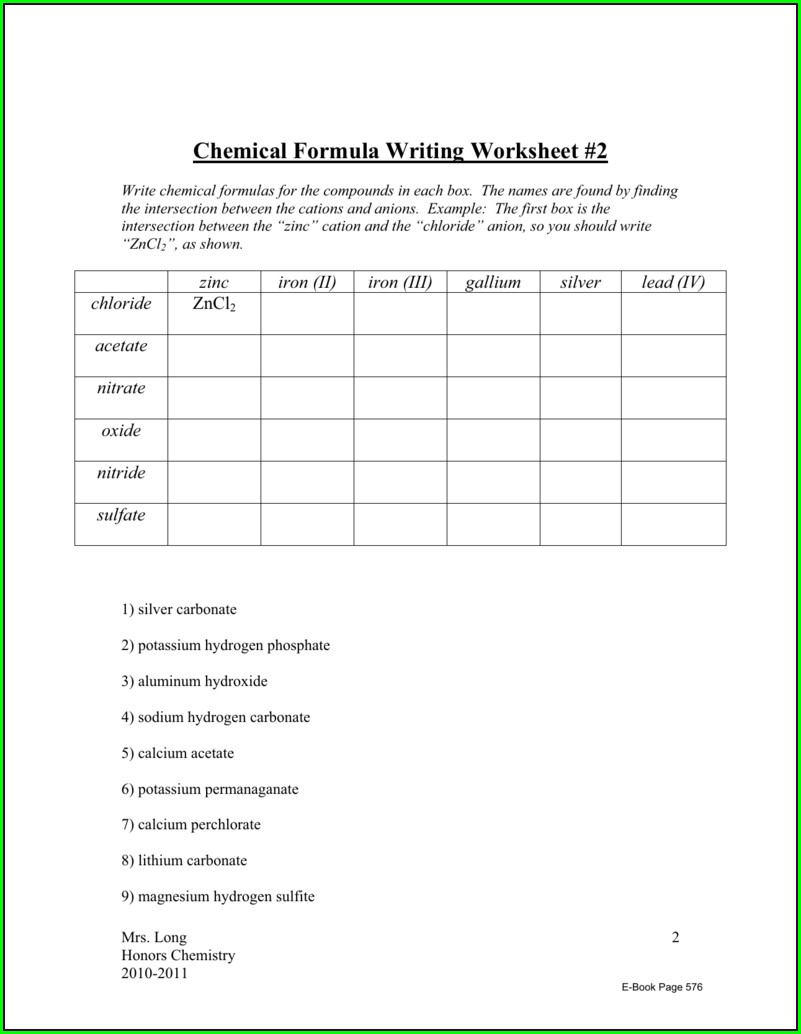 Chemistry Formula Writing And Naming Worksheet 1