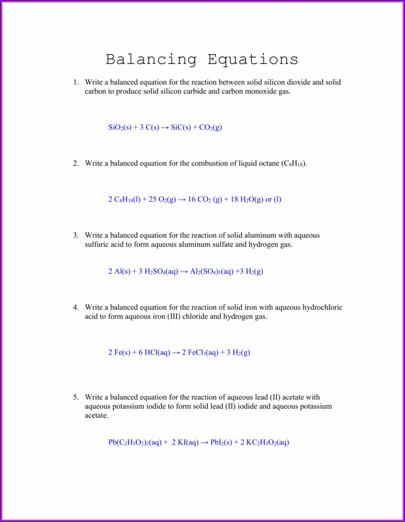 Chemistry Writing And Balancing Equations Worksheet Answers