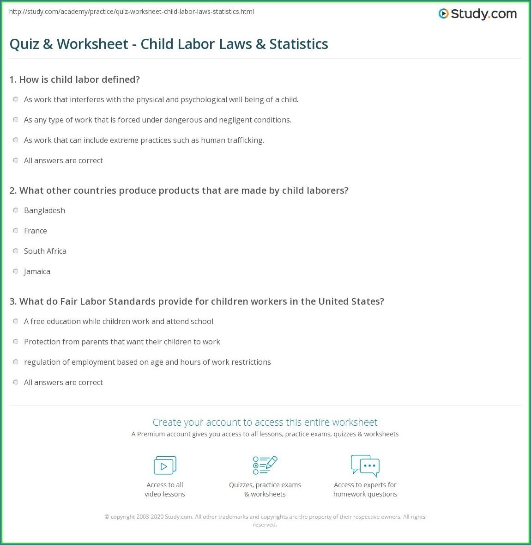 Child Labor Laws Worksheet