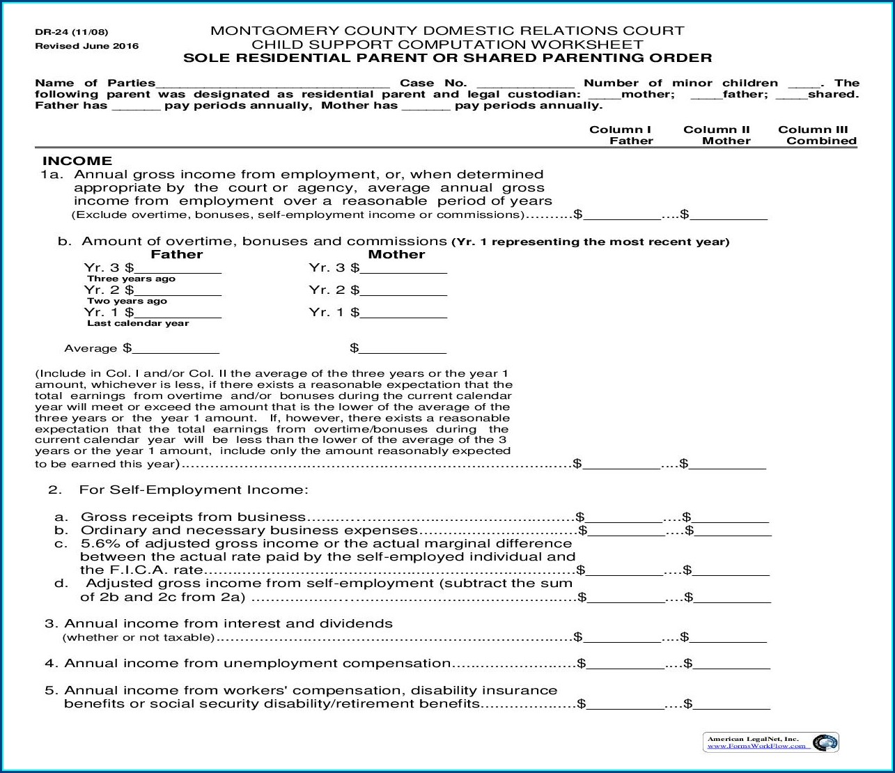 Child Support Computation Worksheet